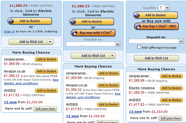Amazon米国 ショッピングカートの例