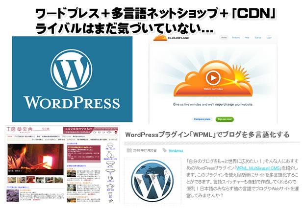 ワードプレス+多言語ネットショップ+CDN。ライバルはまだ気がついていない...