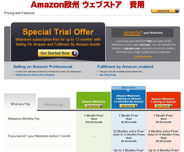 Amazon欧州 ウェブストア 費用