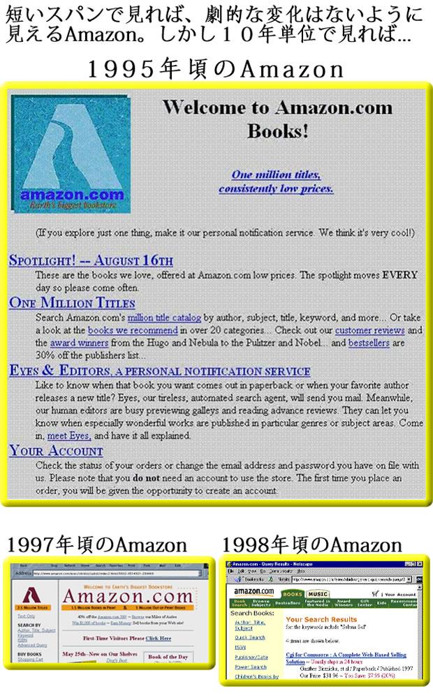 1995年、1997年、1998年ごろのAmazonのトップページ