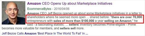 Amazonは、年間10万ドル(約1000万円)以上稼ぐセラーが、世界に7万人以上いると発表した。