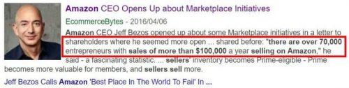 Amazonは、年間10万ドル(約1000万円)以上稼ぐセラーが、世界で7万人以上いると発表した。