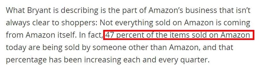Amazonで販売される商品の47%はAmazon以外のセラーであり、それは年々増加している。(2016年)