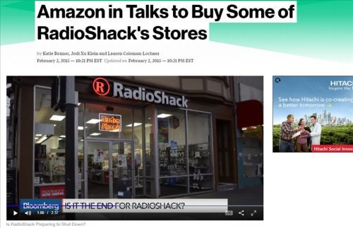 Amazon in Talks to Buy Some of RadioShack's Stores (AmazonがRadioShackのいくつかの店舗を買収する計画について)