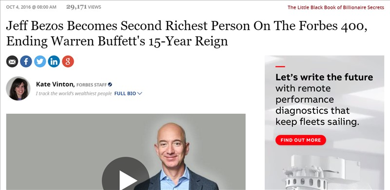 Jeff Bezos Becomes Second Richest Person On The Forbes 400, Ending Warren Buffett's 15-Year Reign