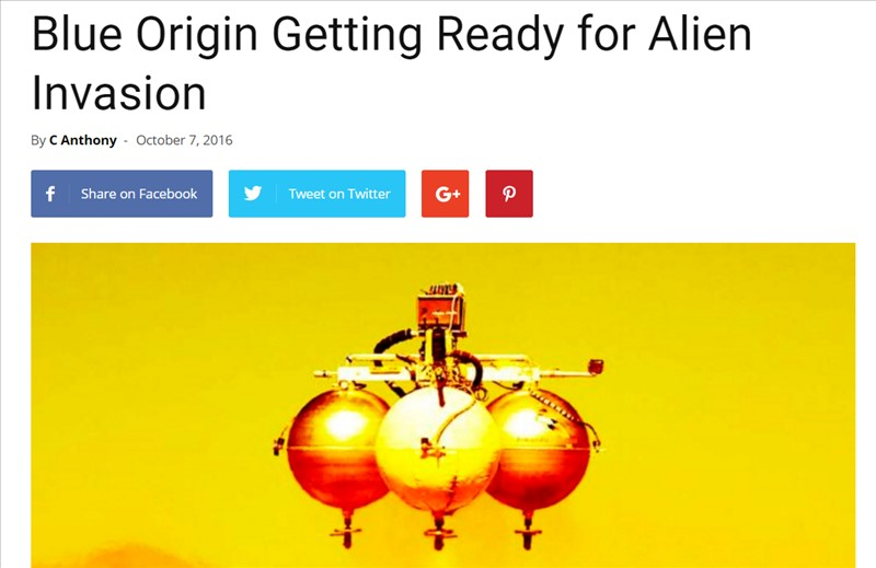 Blue Origin Getting Ready for Alien Invasion (ブルーオリジンは、エイリアン侵略のための準備をしている。)