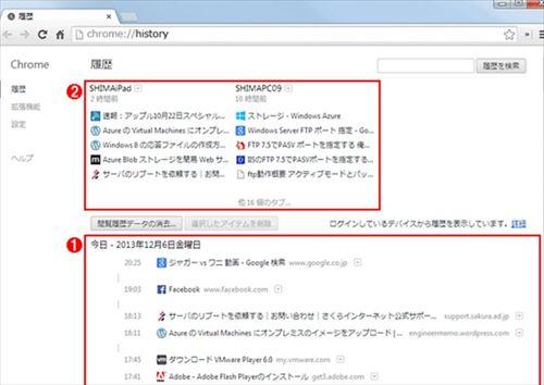 過去に開いたタブを改めて開きたい場合は、Chromeの管理画面から「履歴」を選択する。