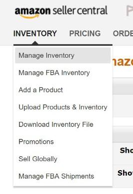 左上の「INVENTORY」から「Manage Inventory」を選択します。