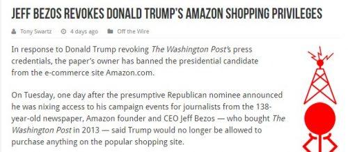 ジェフ・ベゾス、ドナルド・トランプのアマゾンアカウントを停止