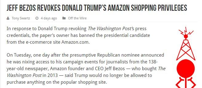 ジェフ・ベゾス、ドナルド・トランプとその関係者のアマゾンアカウントを停止