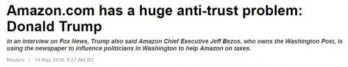 Amazon.com has a huge anti-trust problem: Donald Trump