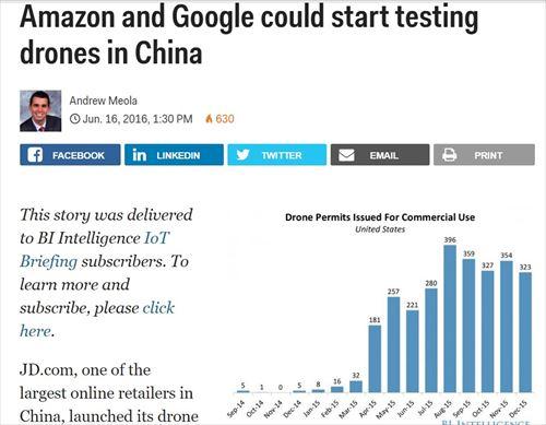 アマゾンとグーグルが中国でドローンによる発送をテスト (2016/06)