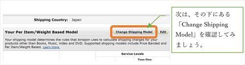 次は、その下にある「Change Shipping Model」を確認してみましょう。