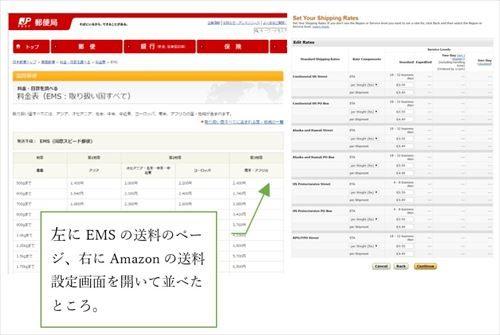 左にEMSの送料のページ、右にAmazonの送料設定画面を開いて並べたところ。
