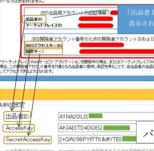 Amazon MWSの登録・確認方法とバイキング側の設定画面(出品者ID・AWSアクセスキーID・秘密キー)(拡大図)