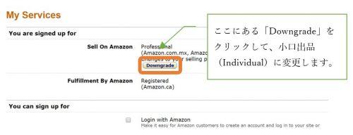 ここにある「Downgrade」をクリックして、小口出品(Individual)に変更します。
