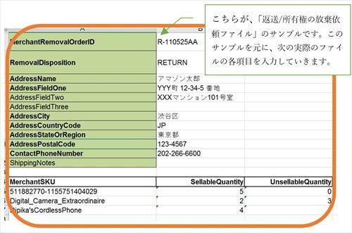 こちらが、「返送/所有権の放棄依頼ファイル」のサンプルです。このサンプルを元に、次の実際のファイルの各項目を入力していきます。