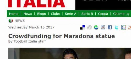Crowdfunding for Maradona statue