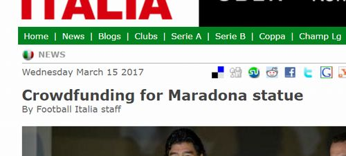 Crowdfunding for Maradona statue