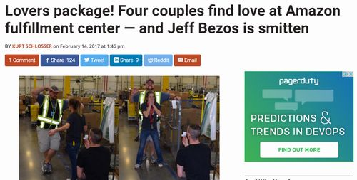 Lovers package! Four couples find love at Amazon fulfillment center — and Jeff Bezos is smitten