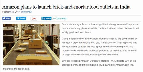 Amazon plans to launch brick-and-mortar food outlets in India