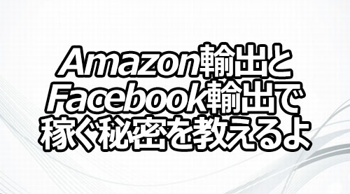 Amazon輸出とFacebook輸出で稼ぐ秘密を教えるよ